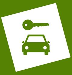 Car key simplistic sign white icon vector