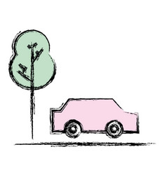 Car transportation in the road via with tree vector