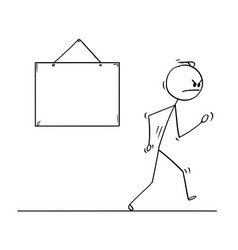 cartoon of angry man walking from empty sign vector image