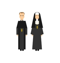 Catholic men and women monks vector