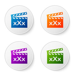 Color movie clapper with inscription xxx icon vector
