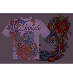 Colorful floral t-shirt design vector