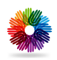 Colorful hands in circle group icon vector