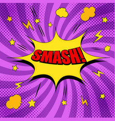 Comic red smash wording template vector