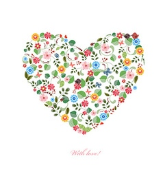 Cute heart with birds and butterflies for your vector