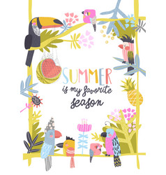 Cute magic frame composed funny colorful exotic vector