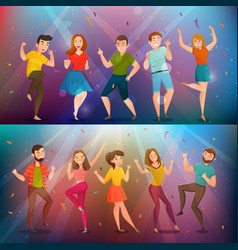 Dancing people retro banners set vector