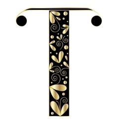 Decorative letter shape Font type T vector