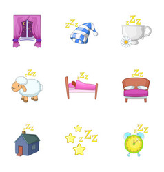deep sleep icons set cartoon style vector image