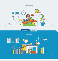 desk work career growth investment growth vector image