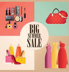 Discount big summer sale set vector