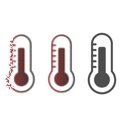 disintegrating pixelated halftone thermometer icon vector image