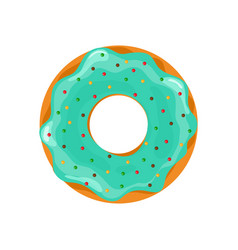 Donut and cupcake doughnut with blue glazed sweet vector