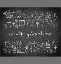 easter greeting card with easter doodles on vector image