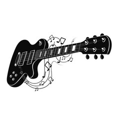 electric guitar makes a sound black and white vector image