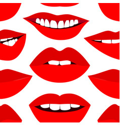 fashion pattern with red lips vector image