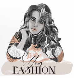 fashion with beautiful girl vector image