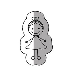 figure happy girl with bow in the head icon vector image vector image