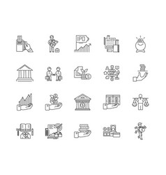 finance business line icons signs set vector image