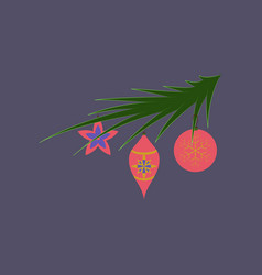 Flat on background of christmas tree toys vector