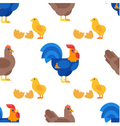 Flat style seamless pattern with rooster hen and vector