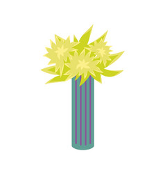 flower plant in tall striped vase isolated vector image