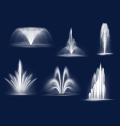 Fountains cascades isolated water jets set vector