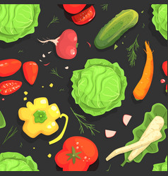 fresh vegetables seamless pattern healthy organic vector image