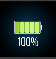 fully charged battary icon on dark background vector image
