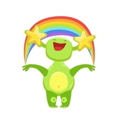 Funny Monster Seeing Stars And Rainbow Green vector
