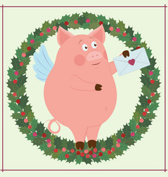 funny piggy and holiday wreath vector image