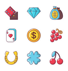 Gambling establishment icons set cartoon style vector