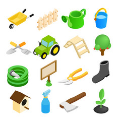 Garden isometric 3d icons set vector