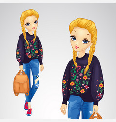 girl in sweater with flowers vector image