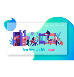 Group of traveler at hostel room landing page vector