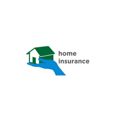 hand and home logo for home insuran vector image