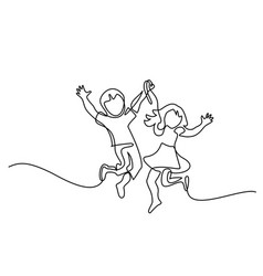 happy jumping children holding hands vector image