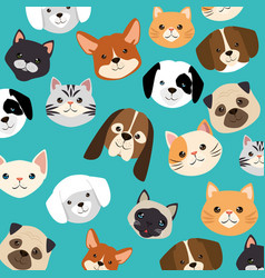 Heads dogs and cats pets pattern vector