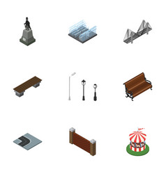 Isometric city set of carousel fountain bridge vector