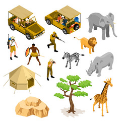 Isometric safari icons set vector
