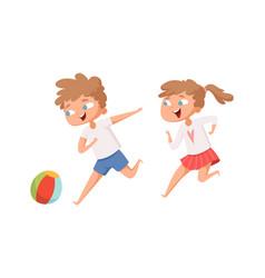 kids play ball running cartoon boy and girl vector image