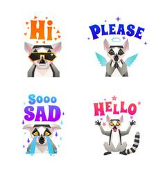 lemur emotions polygonal icons set vector image