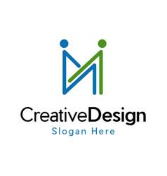 letter m human friendship creative business logo vector image