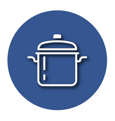 Line icon of stew pan with shadow eps 10 vector