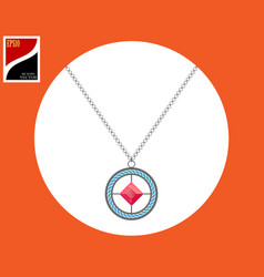 medallion with precious stones vector image