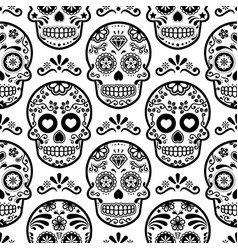 Mexican sugar skull seamless pattern vector