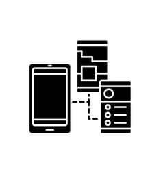mobile apps black icon sign on isolated vector image