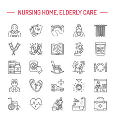 Modern line icon of senior and elderly care vector