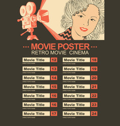 movie poster with retro camera and girls face vector image