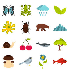 Nature items set flat icons vector
